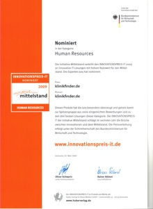 Urkunde Innovationspreis-IT